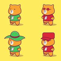 Illustration of a cute bear character wearing a shirt vector