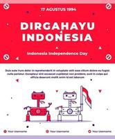 Indonesian independence greeting card with Indonesian flag vector