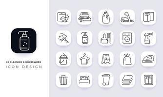 Line art incompleto paquete de iconos de limpieza y tareas domésticas. vector