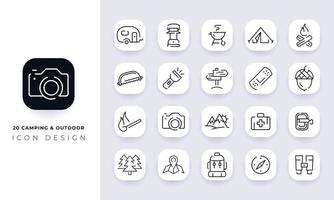 Line art incomplete camping and outdoor icon pack. vector