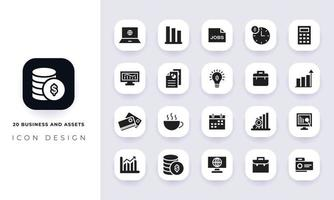 Minimal flat business and assets icon pack. vector