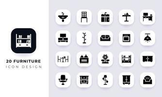 paquete de iconos de muebles planos mínimos. vector