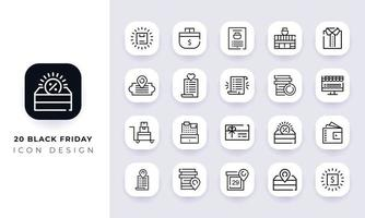 Line art incomplete black friday icon pack. vector