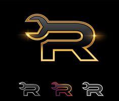 Golden Mechanic Monogram Logo letter R vector