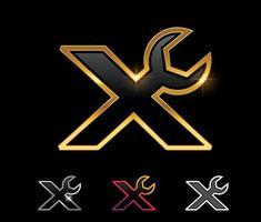 Golden Mechanic Monogram Logo letter X vector