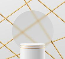 Abstract 3D white, gold cylinder pedestal  podium with circle glass vector