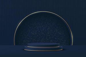 Abstract 3D dark blue cylinder pedestal podium with golden semi circle vector