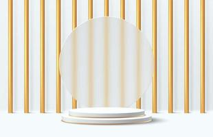 Abstract 3D white and gold cylinder pedestal podium vector