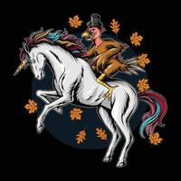 turkey on thanksgiving day riding a unicorn running fast vector