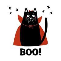 lindo gato usa disfraz de vampiro con colmillos cuernos, capa roja y palabra abucheo vector