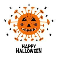 Halloween coronavirus bacteria with scary face and lettering vector