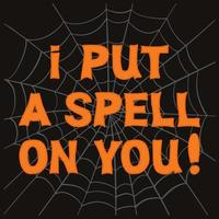 I put a spell on you. Orange lettering and cobweb on dark background vector