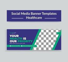 Medical Healthcare Social Media Timeline Cover and Web Banner Template vector