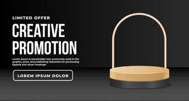 elegant look of wooden podium vector