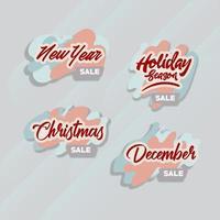 Set of Christmas and holiday tags. vector
