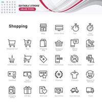Thin line icons set of shopping. Pixel perfect icons. vector