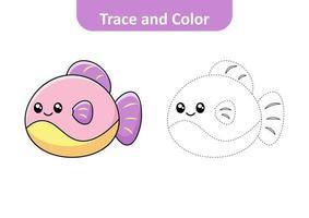 Traza y color para niños, vector de peces.