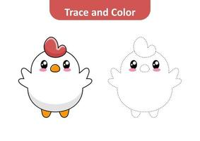 Trace and color for kids, chicken vector