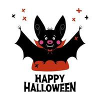 Cute vampire bat with fangs and red cloak Halloween greeting card vector