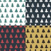 Set fir tree seamless pattern colorful vector