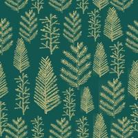 Seamless pattern gold christmas tree vector