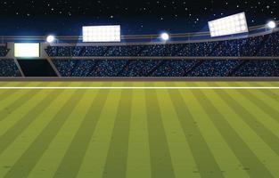estadio de fútbol por la noche con muchos seguidores. vector