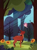 A Deer and a Bird in the Forest vector