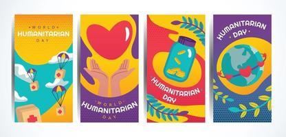 World Humanitarian Day Card Set vector