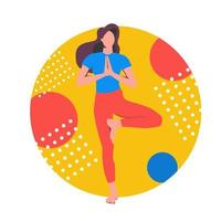 Yoga online. Girl coach conducts a lesson live. Concept for yoga vector