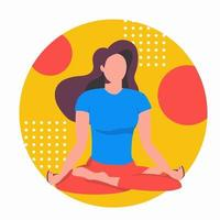 Yoga online. Girl coach conducts a lesson live. Concept vector