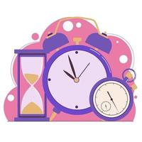 gestión del tiempo. planificación. reloj, reloj de arena, despertador vector