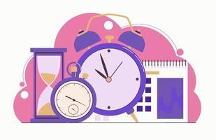gestión del tiempo. planificación. reloj, reloj de arena, despertador, vector