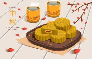 Mooncake and Tea in Mid Autumn Concept vector