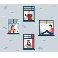 Stay at home. Life during isolation at home. Facade vector