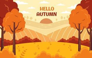 fondo de dibujos animados de la temporada de otoño vector