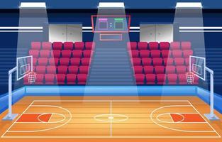 fondo de dibujos animados del estadio interior de baloncesto vector