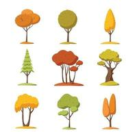 Autumn Trees Cartoon Icon vector