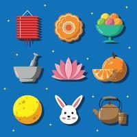 Chuseok Festival Celebration Icon Set vector