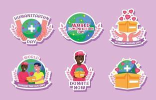 Humanitarian Day Cartoon Sticker set vector