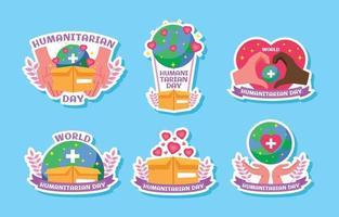 Humanitarian Day Cartoon Sticker Pack vector