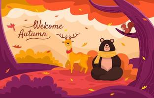 Bear, Deer, and Squirell at Autumn Scenery vector