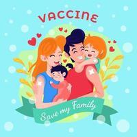 la vacuna salva a nuestra familia vector