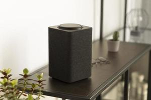 The composition smart speaker table photo