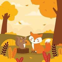 Cute Squirrel and Fox in Autumn Landscape vector