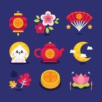 Set of Mid Autumn Icon vector
