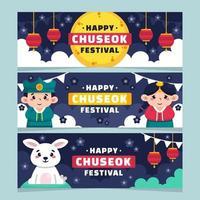 Set of Cute Chuseok Banners vector