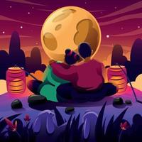 A Couple Enjoying Mid Autumn Moon Light vector