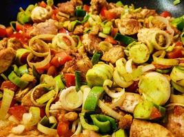 spicy chicken curry with vegetables photo