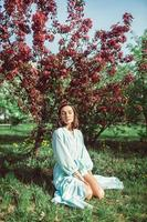 Girl sits in the park on the grass under a blooming white apple tree photo