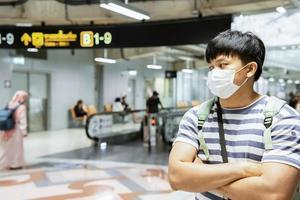 Soporte de mascarilla quirúrgica asiática con los brazos cruzados para viajar foto